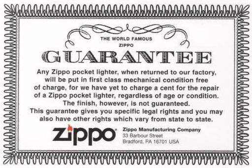 Doživotní záruka Guarantee Zippo